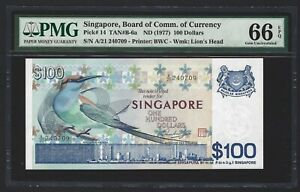 SINGAPORE 100 Dollars 1977, P-14 TAN B-6a Bird Series, PMG 66 EPQ Gem UNC, Rare
