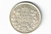 CANADA 1919 10 CENTS DIME KING GEORGE V CANADIAN STERLING SILVER COIN
