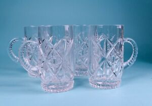Set of 4 Beer Mugs Vintage Clear Star Cut Crystal/glass? Round Tankards Barware