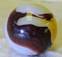 6949m Large .75 Inches Akro Agate Egg Yolk Oxblood Vintage Marble