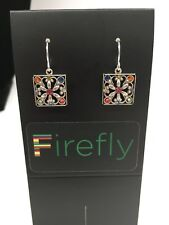 FIREFLY Multicolor Mosaic Square Drop Earrings - Gorgeous Silver Mosaic (E45)