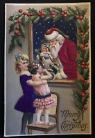 SILK~SANTA CLAUS~with Little Girls~Doll~Holly~Antique Christmas Postcard--a170