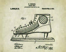 Ice Hockey Skates Patent Poster Art Print 11 x 14 Stick Shoes Kids Puck PAT360
