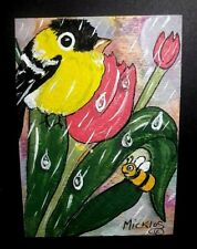 Aceo Tiny Curiosities Goldfinch Bee Tulips Rain Watercolor Acrylic Ink Signed