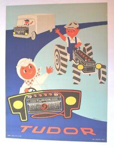 AFFICHE BATTERIE TUDOR JF CAMION TRACTEUR PILOTE 1962 vintage garage VARTA pile