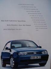 VW Golf IV Cabriolet Prospekt Sportline +Preisliste Brochure Catalogue 9/2000