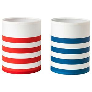 """Ikea NYMO Lamp Shade White with Red Stripes or Blue Stripes 7"""" 19 cm 302.636.55"""