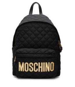 LARGE - MOSCHINO - BLACK QUILTED BACKPACK PURSE BAG - GOLD TONE BIG LOGO