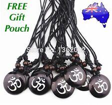 Carved OM Buddha Boho Yoga Meditation Healing Hindu Hippie Pendant Necklace Gift