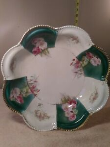 """Antique Empire China Bowl Pink & White Roses Scalloped Edge 10.5"""" concave"""