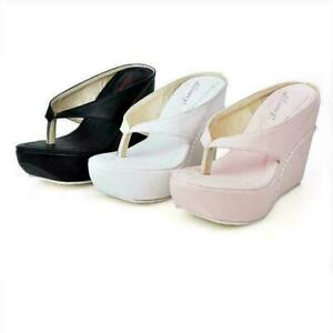 Women Wedge High Heel Sandals Flip Flops Flat Slippers Beach Slip On Shoe Hot Ne