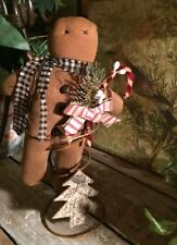 "MINI Gingerbread Man Rusty Spring Bells Cupboard Tuck 9"" Cabin Candy Cane Pips"