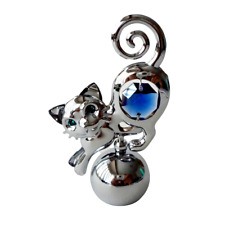 Crystocraft Cat Crystal Ornament With Swarovski Elements Gift Boxed Blue Silver