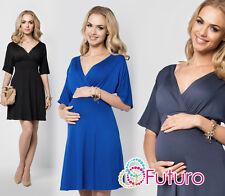 Elegant Maternity Skater Dress V-Neck 3/4 Sleeve Pregnancy Coctail Tunic FM09