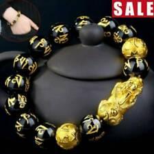 Feng Shui Black Obsidian Alloy Wealth Golden Pixiu Bracelet Lucky Jewelry Gift