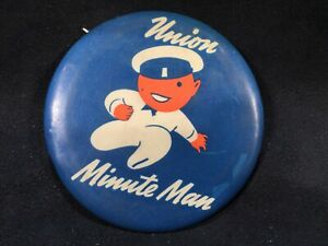 """Vintage 1940's Union 76 Gasoline Minute Man Minuteman 3-1/2"""" Uniform Button"""