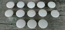 "White Porcelain Drawer Pulls Antique 1 1/8"" Lot of 13"