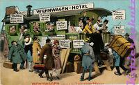 AK Künstlerkarte, Künstler A.Thiele, Scherzkarte,Wohnwagen-Hotel, 30/04