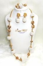 2 IN 1 Long Short Design White Beads embellished Gold Balls Fashion jewelry Set