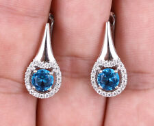 CIRCLES TOPAZ .925 SOLID STERLING SILVER EARRINGS #21563