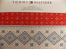 NEW TOMMY HILFIGER LONDONDERRY RED BLUE WHITE 3 PC TWIN SHEET SET
