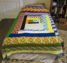 """Vintage 1970's crocheted afghan blanket. 60"""" x 74"""". Geometric."""