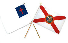 "12x18 12""x18"" Wholesale Combo Christ Christian State Florida Stick Flag"