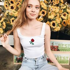 Brandy Melville White Crop Square Neck Hannah Bouquet Embroidered Tank Top