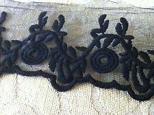 """4 yds black  vintage trims    lace   No 46 size 3""""1/2"""
