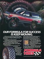1988 Print Ad of Formula Tires Desert Dog A/S on Ford Bronco 4x4