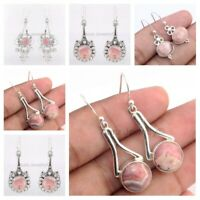 Pink Rhodochrosite Solid 925 Sterling Silver Dangle Earrings Mothers Day Gift