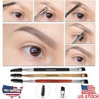 Eyebrow Brush Double Ended Flat Angled Eyeliner Eyeshadow Brow Mascara Makeup US