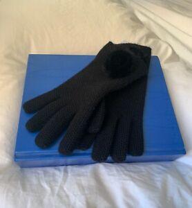 LORO PIANA Black Cashmere & Mink Crochet Gloves Size M $385 Retail