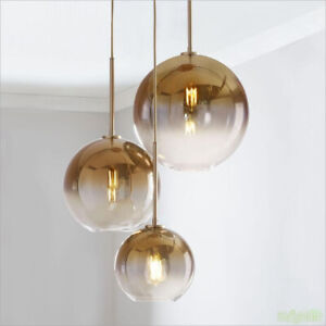 Gradient Gold silver Glass Balls Chandelier LED Pendant lamp Ceiling light
