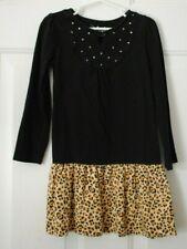 Girls Jumping Beans Black Cheetah Print Long Sleeve Dress Size 5 EUC