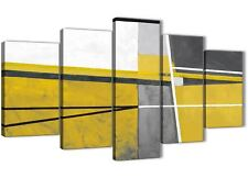 5 Panel Mustard Yellow Grey Painting Abstract Dining Room Canvas - 5388 - 160cm