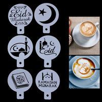 6Pcs Eid Mubarak Coffee Stencil DIY Ramadan Coffee Printing Template Cake*Decor#