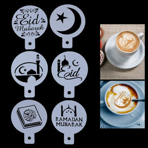 6x Eid Mubarak Coffee Stencil DIY Ramadan Coffee Printing Template Cake Deco^lk