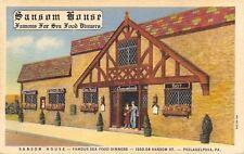 Philadelphia Pennsylvania~Sansom House Sea Food Dinners~1936 Linen Postcard