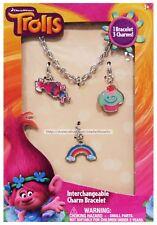HER 4pc Set TROLLS Poppy+Cupcake+Rainbow Charms INTERCHANGEABLE CHARM BRACELET