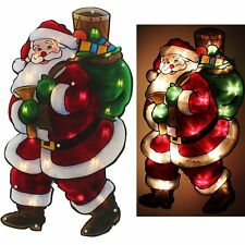 Christmas Window Lights Santa With Sack Double Sided Silhouette Indoor Display