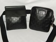 """AUTHENTIC GUCCI BLACK """"GG"""" LEATHER DUAL FANNY PACK"""