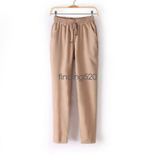 Ladies Chiffon Harem Long Pants Casual Sport Elastic Waist Drawstring Trousers