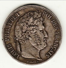 RARE de PLUS TTB 5 FRANCS LOUIS PHILIPPE 1835K COTE 220 EURO B1 T6