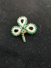Gold Tone Shamrock Lapel Pin Two Tone Green Rhinestones St Patrick's Day P3