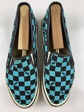 VANS USA Style 98 Vintage Turquoise Blue Check Canvas Slip Skate Shoe Women 6.5