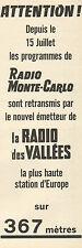 Publicité Advertising 1964  Radio des VALLEES la plus haute station d'Europe