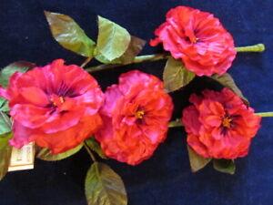 "Vtg Millinery Flower Hollyhock 3"" Blooms 4 on the stem Rich Pink Paris France KZ"