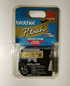 Genuine Brother P-Touch M-831 12mm Black on Gold M Tape - NEW