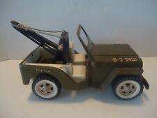 Vintage 1960's  Tonka Army Jeep G-2-2431 WITH TOW CRANE  RARE